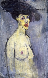 nude with hat [recto] by amedeo modigliani